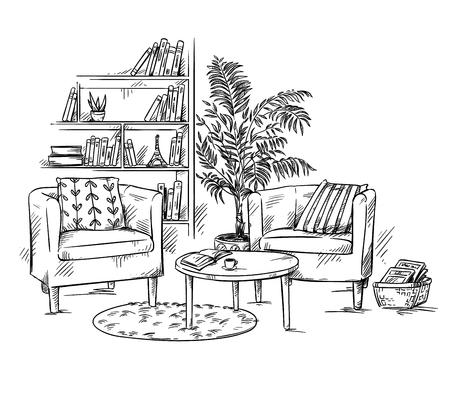 Woonkamer. Twee fauteuils met salontafel en boekenplank