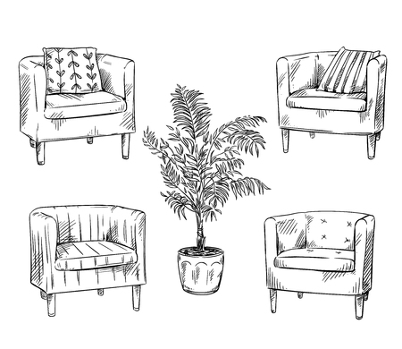 Furniture. Armchairs and flower pot 일러스트
