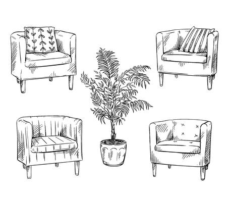 Meble. Fotele i doniczka
