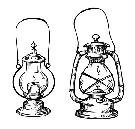Vintage hand drawn lanterns