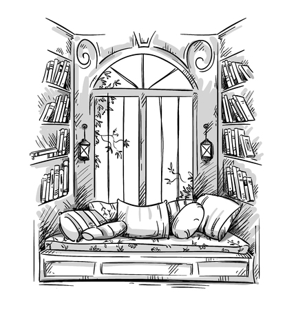 Reading nook, cozy window seat vector drawing Archivio Fotografico - 115922969