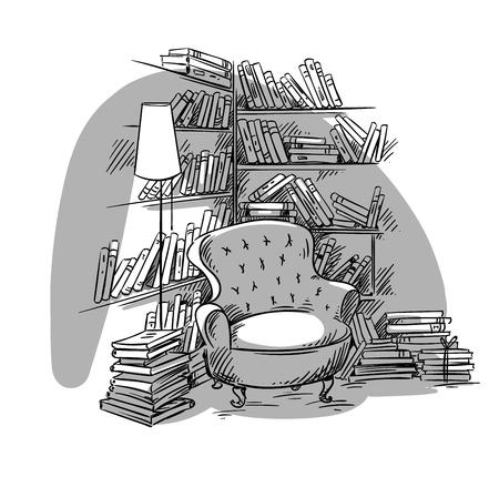 Angolo lettura, stanza accogliente con scaffali, illustrazione vettoriale
