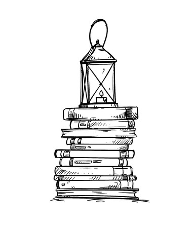 Pile of books with old lantern on the top, vector illustration Pile of books with old lantern on the top, vector illustration
