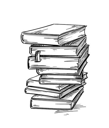Heap of books, vector drawing