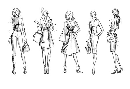 Street look. Fashion illustration, vector sketch