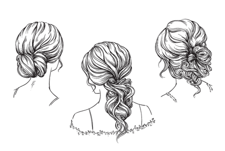 Bridal hand drawn hairstyles, vector illustration Vettoriali