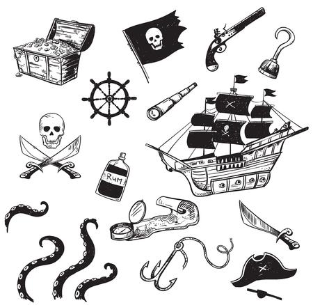 Ensemble d'icônes dessinées à la main de pirates Vecteurs