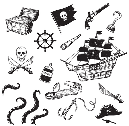 Set of pirate hand drawn icons