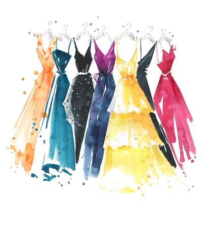 Zestaw sukienek akwarelowych na wieszakach, ilustracja mody