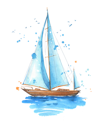 Sailing boat, watercolor painted illustration Banco de Imagens