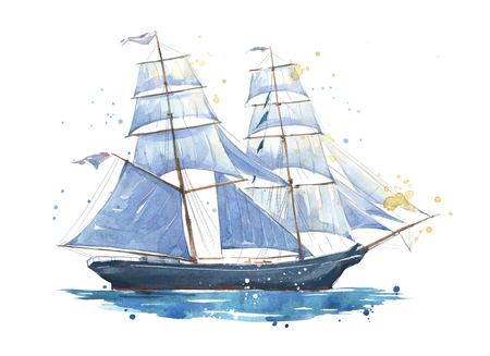 Sailing ship, watercolor painted illustration