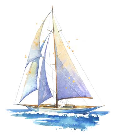 Bateau à voile, illustration peinte à l'aquarelle
