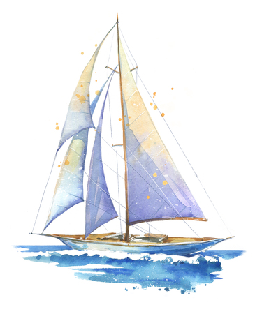 Sailing boat, watercolor painted illustration