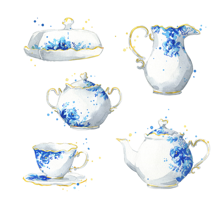 Porcelain tea set, watercolor illustration Stock Photo