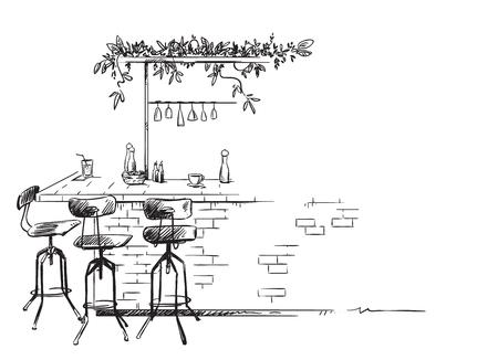 szkic wnętrza baru, rysunek wektor stojak barowy, na białym tle