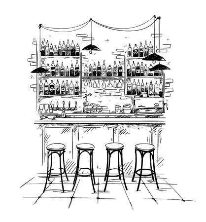 Ambiente interno bar, schizzo vettoriale in bianco e nero