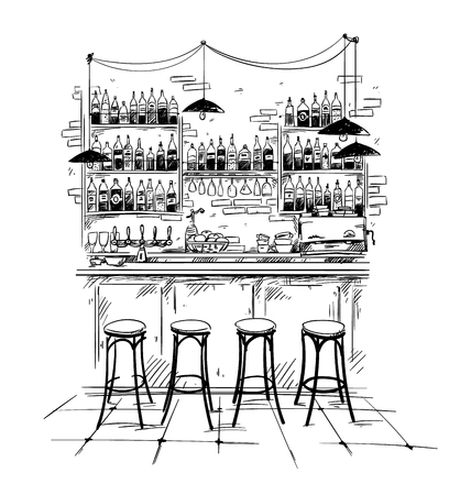 Bar interior setting, vector black and white sketch