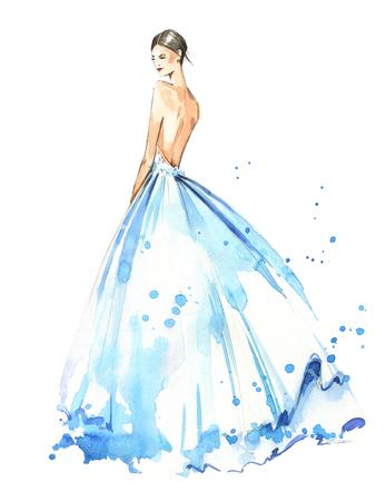 Jonge vrouw, gekleed in lange avondjurk, bruid. Aquarel illustratie, met de hand beschilderd