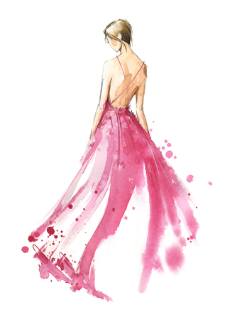 Young woman wearing long evening dress, bride. Watercolor illustration, hand painted Stok Fotoğraf - 120630466