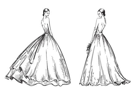 giovani donne che indossano abiti da sposa. Illustrazione di moda look da sposa Vettoriali