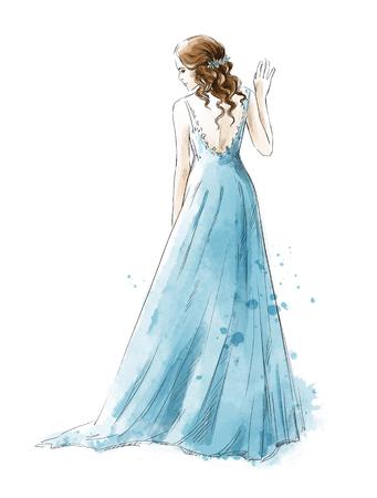 Bruid. Jong meisje in een lange jurk, achteraanzicht, aquarelstijl Stockfoto
