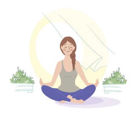 Girl meditating by the open window. Illustration
