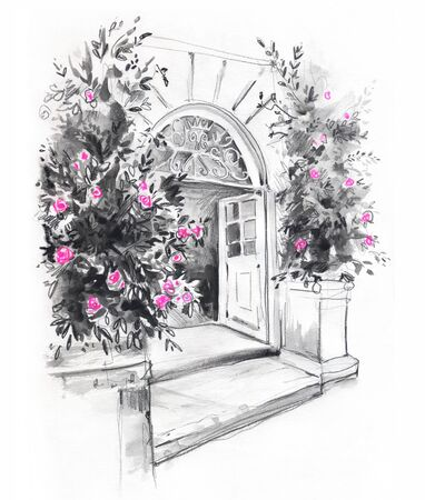 Sketch of the entrance to the Victorian building with rosebushes on the sides, hand drawn 免版税图像