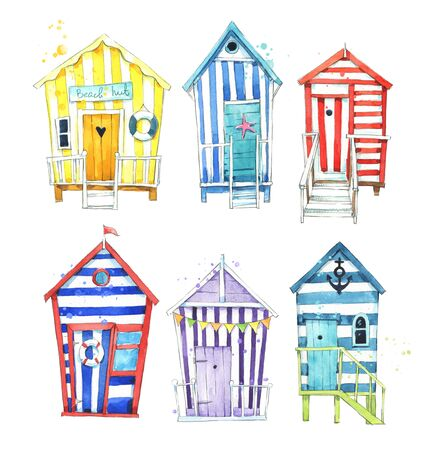 Colorful watercolor beach huts Stok Fotoğraf