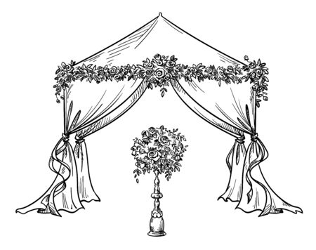 Decorative tent for a party or wedding with flower Illustration