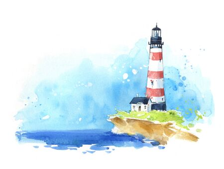 Watercolour sketch of a lighthouse at the seaside, seascape.