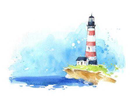 Schizzo ad acquerello di un faro in riva al mare, vista sul mare.