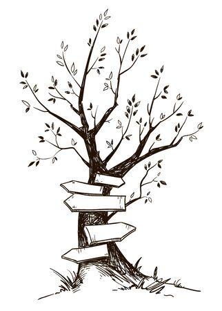 Drawing of a tree with wooden arrow signs