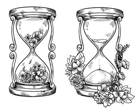 Zestaw 2 starych klepsydr piaskowych z kwiatami Ilustracje wektorowe