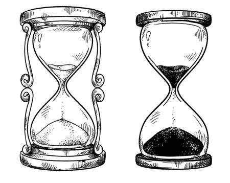 Set of 2 vintage sand hourglasses  drawing Illustration