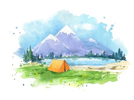 Watercolor painting of a camping site by the lake Imagens