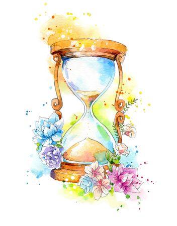 Reloj de arena decorado con flores, pintura de acuarela. Foto de archivo