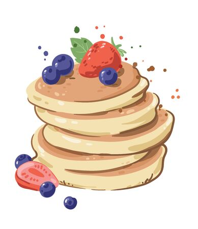 Pile of delicious pancakes with berries topping Vectores