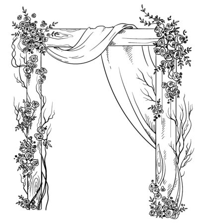 Wooden wedding arch decorated with roses