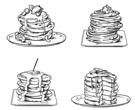 Yummy pancakes with toppings Иллюстрация