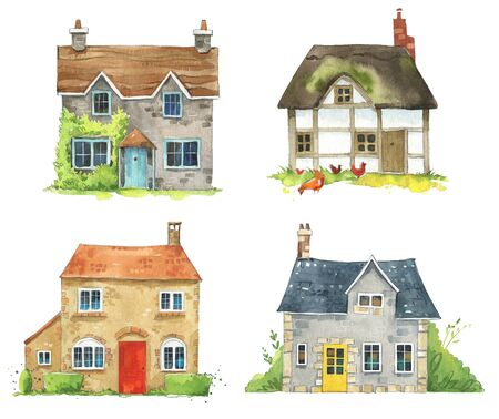 Set of watercolor British cottages, English traditional architecture.
