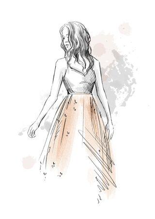 mode illustratie. Meisje in een romantische jurk.