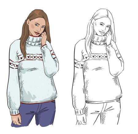 winter look. A woman in warm sweater posing