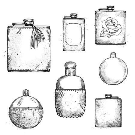 Set of different drinking hip flasks, vector drawing  イラスト・ベクター素材