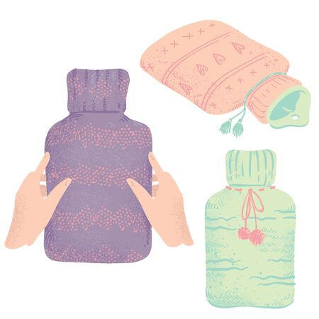 Set of rubber hot water bottles in knitted covers 向量圖像