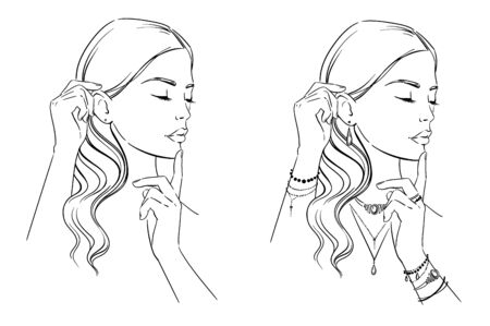 Beauty illustration. Fashion portrait of a woman with her hands at her face, template for jewelery display