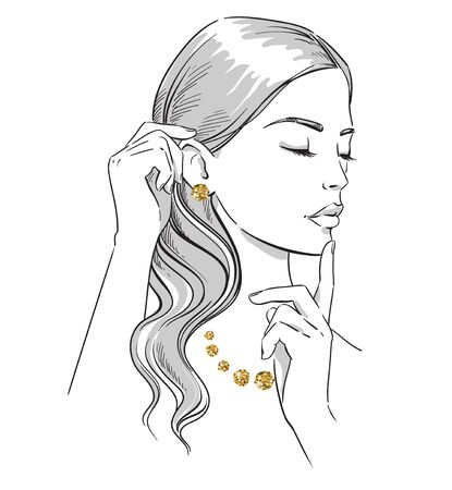 Beauty illustration. Fashion portrait of a woman with hands at her face wearing golden jewelery