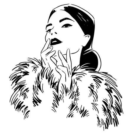 Ilustración de moda. retrato, de, mujer, llevando, abrigo de pieles Ilustración de vector