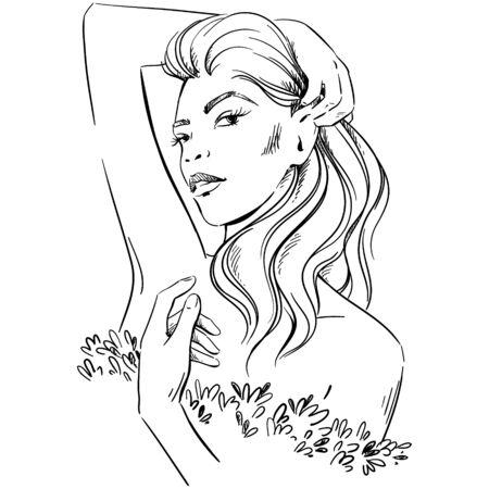 fashion illustration. portrait of woman wearing elegant dress