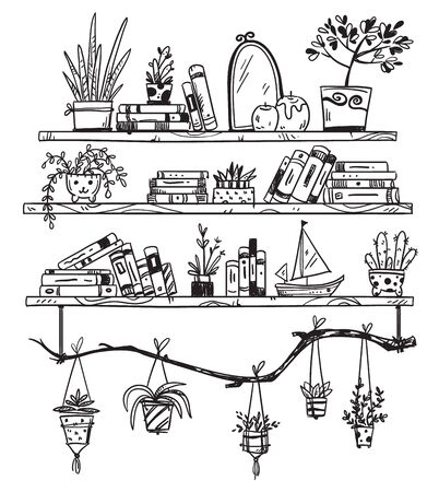 Hand drawn bookshelves with books, houseplants and little souvenirs. A cozy place Illustration
