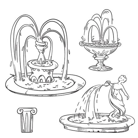 Set of outdoor vintage fountains, vector sketch. Ilustrace